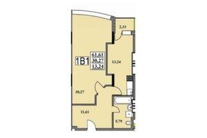 Продается 1-комнатная квартира 61.61 кв. м в Черкассах