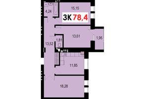 Продается 3-комнатная квартира 78.4 кв. м в Ивано-Франковске
