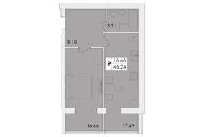 Продается 1-комнатная квартира 46.24 кв. м в Житомире