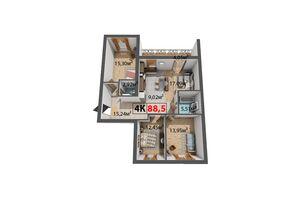 Продается 4-комнатная квартира 88.5 кв. м в Ивано-Франковске