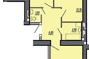 Продається 2-кімнатна квартира 65.29 кв. м у Тернополі