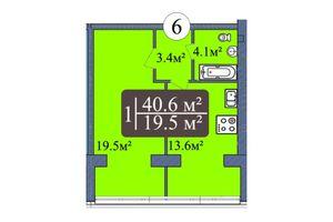 Продается 1-комнатная квартира 40.6 кв. м в Николаеве