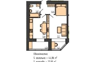 Продается 1-комнатная квартира 44.86 кв. м в Хмельницком