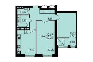 Продается 2-комнатная квартира 62.22 кв. м в Черкассах