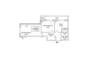 Продается 2-комнатная квартира 77.08 кв. м в Харькове
