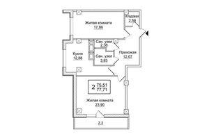 Продается 2-комнатная квартира 77.71 кв. м в Харькове