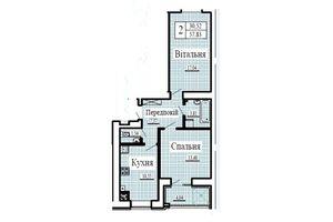 Продается 2-комнатная квартира 57.83 кв. м в Луцке