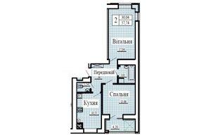 Продается 2-комнатная квартира 57.74 кв. м в Луцке