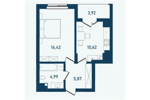 Продается 1-комнатная квартира 41.82 кв. м в Черновцах