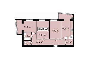 Продается 3-комнатная квартира 86.8 кв. м в Хмельницком