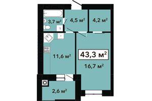 Продается 1-комнатная квартира 43.3 кв. м в Хмельницком