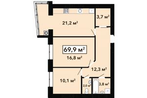 Продается 2-комнатная квартира 69.9 кв. м в Хмельницком