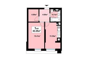 Продается 1-комнатная квартира 42.28 кв. м в Черновцах