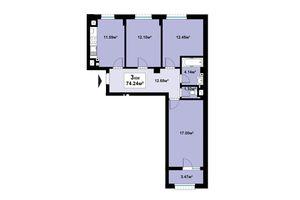 Продается 3-комнатная квартира 74.24 кв. м в Черновцах