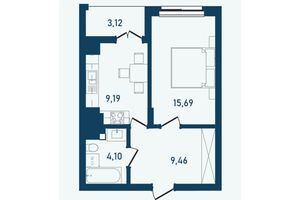 Продается 1-комнатная квартира 41.56 кв. м в Черновцах