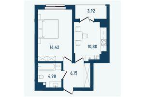 Продается 1-комнатная квартира 42.27 кв. м в Черновцах