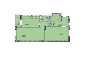 Продається 2-кімнатна квартира 71.3 кв. м у Волочиську