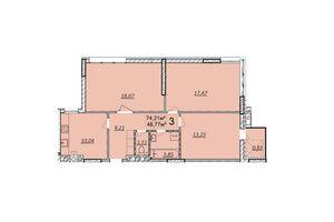Продається 3-кімнатна квартира 77 кв. м у Волочиську