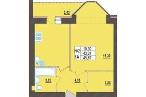 Продается 1-комнатная квартира 45.67 кв. м в Хмельницком
