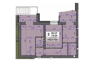 Продается 2-комнатная квартира 74.04 кв. м в Полтаве