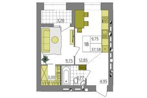 Продается 1-комнатная квартира 38.56 кв. м в Ровно