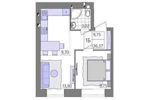 Продается 1-комнатная квартира 36.21 кв. м в Ровно
