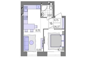 Продается 1-комнатная квартира 39.68 кв. м в Ровно