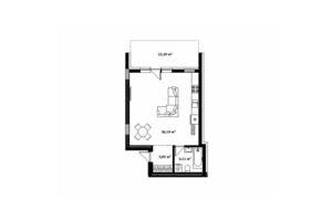 Продается 1-комнатная квартира 51.7 кв. м в Ужгороде