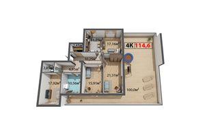 Продается 4-комнатная квартира 114.6 кв. м в Ивано-Франковске