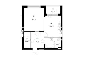 Продается 1-комнатная квартира 46.5 кв. м в Ирпене