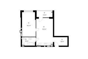 Продається 1-кімнатна квартира 52.2 кв. м у Ірпені