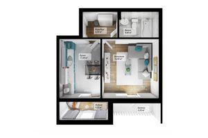 Продается 1-комнатная квартира 42.2 кв. м в Черновцах