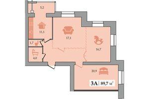 Продается 3-комнатная квартира 89.7 кв. м в Днепре