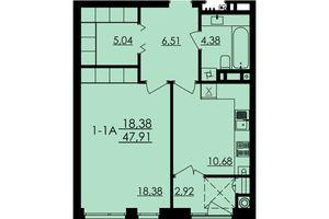 Продается 1-комнатная квартира 47.91 кв. м в Черкассах