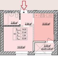 Продается 1-комнатная квартира 33 кв. м в Ирпене