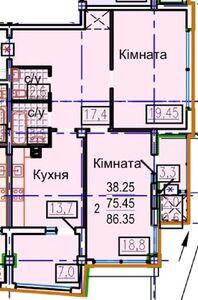 Продається 2-кімнатна квартира 86.35 кв. м у Харкові