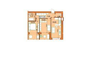 Продается 2-комнатная квартира 56.78 кв. м в Ирпене