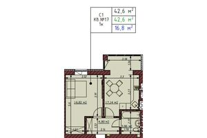 Продається 1-кімнатна квартира 43.3 кв. м у Ірпені