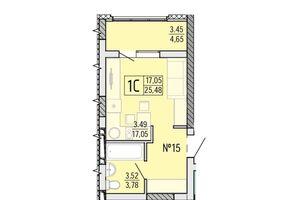 Продается 1-комнатная квартира 25.48 кв. м в Одессе