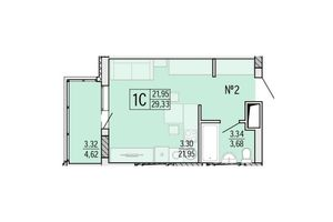Продається 1-кімнатна квартира 29.35 кв. м у Одесі