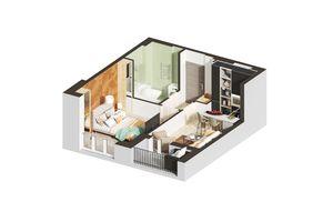 Продається 1-кімнатна квартира 49.18 кв. м у Ірпені