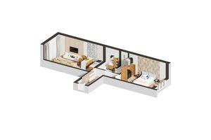 Продается 1-комнатная квартира 46.43 кв. м в Ирпене