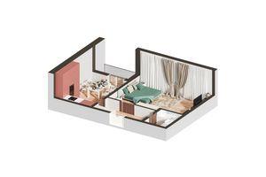 Продается 1-комнатная квартира 48.42 кв. м в Ирпене