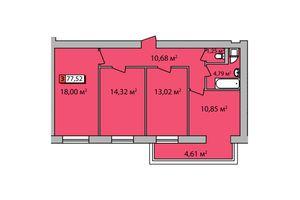 Продается 3-комнатная квартира 77.52 кв. м в Черкассах