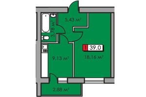 Продається 1-кімнатна квартира 39 кв. м у Черкасах