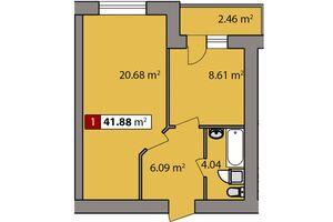Продается 1-комнатная квартира 41.88 кв. м в Черкассах