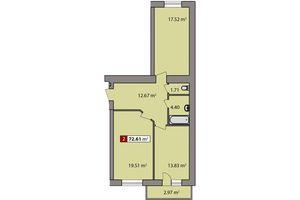 Продается 2-комнатная квартира 72.61 кв. м в Черкассах