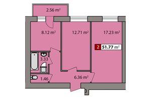 Продается 2-комнатная квартира 51.77 кв. м в Черкассах