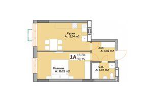 Продается 1-комнатная квартира 39.15 кв. м в Вышгороде