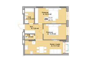 Продается 2-комнатная квартира 58.72 кв. м в Вышгороде